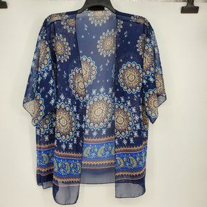 Kimono Blue Sheer Aztec Sun Floral Womens Plus XXL